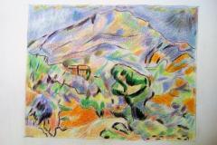 Dessin- La Sainte Victoire d'après Cézanne - crayons de couleur - 2019
