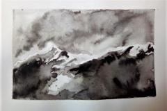 La montagne, la roche - encre de chine - Atelier Botticelli 201913