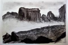 La montagne, la roche - fusain- Atelier Botticelli 2019