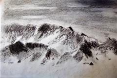 La montagne, la roche - fusain- Atelier Botticelli 20191