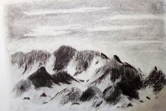La montagne, la roche - fusain- Atelier Botticelli 20192