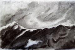 La montagne, la roche - fusain- Atelier Botticelli 20195