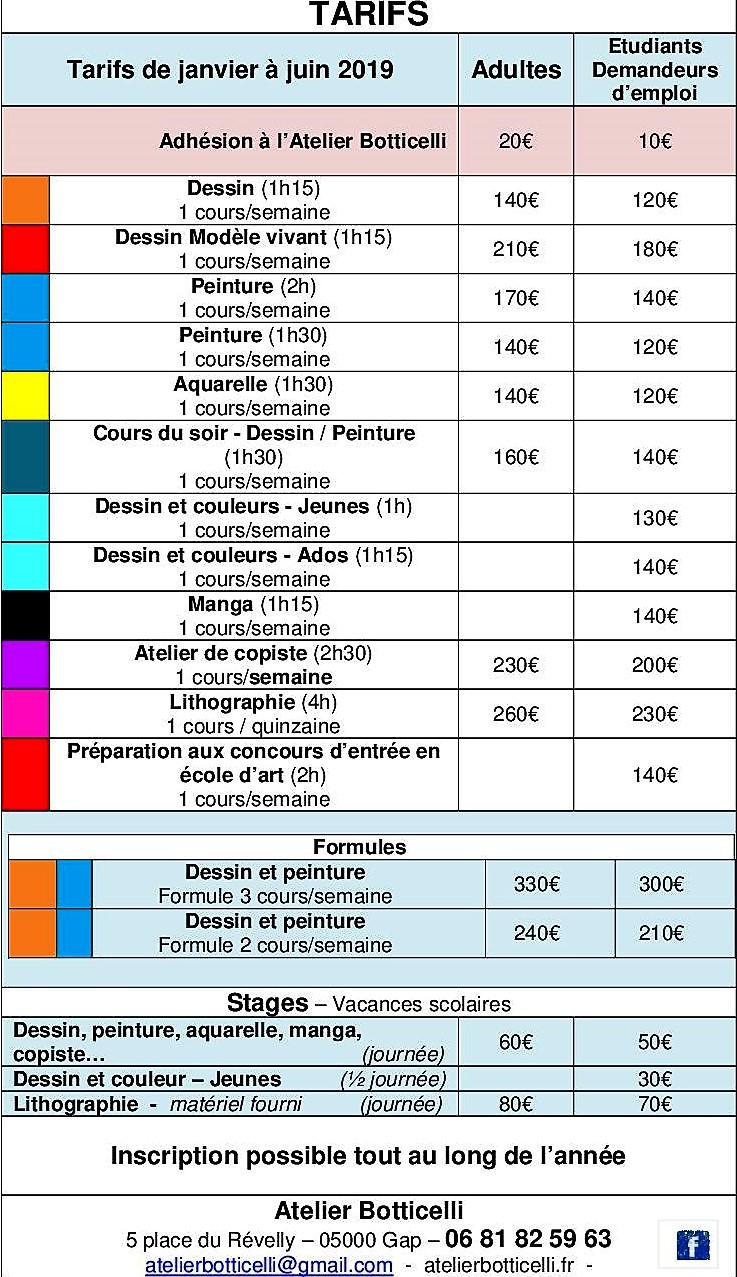 tarifs Janvier à juin 2019